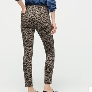 J Crew high rise tooth pick leopard print jeans 28